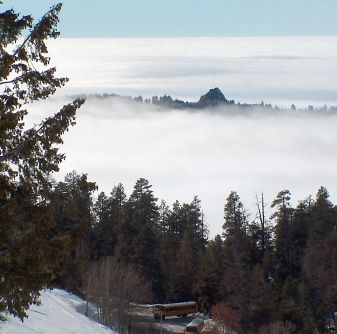 Stack Rock peeking above the inversion, from Bogus Basin