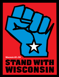 Blue fist logo, AFL-CIO 'Stand With Wisconsin'