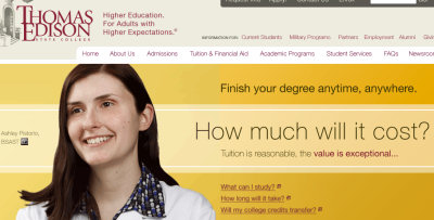 Excerpt screenshot of the Thomas Edison State College website
