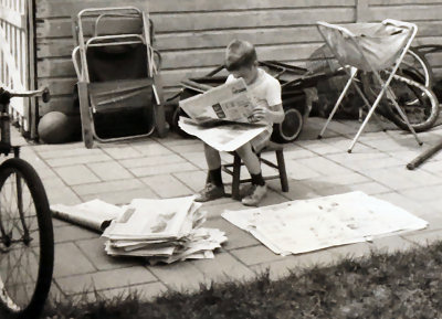 Recycling newspapers, c. 1963
