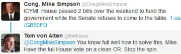 Tweet from and reply to Rep. Mike Simpson (R-ID)