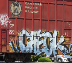 Graffiti on a CPR boxcar at the Cole Rd x-ing
