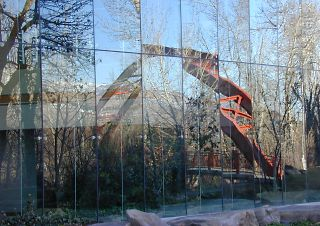 Along the Boise R. greenbelt, footbridge in curtain wall, 2003