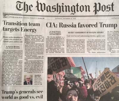 Image of the Washington Post front page, Dec. 10, 2016
