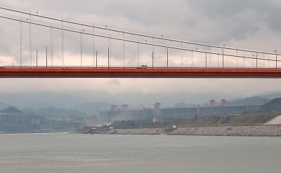 Under the White Gate bridge, looking upstream to The Three Gorges Dam