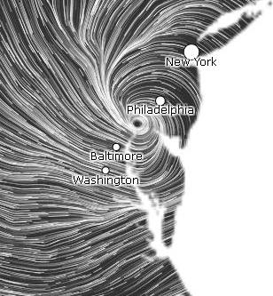 hint.fm wind map screen shot with Sandy ashore