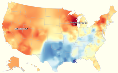 My dialect map, from today's quiz